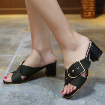 Trendy Cross Straps and Buckle Design Women's Slippers - 36 36