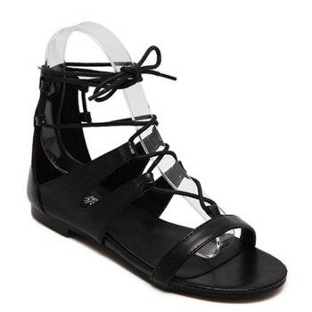 Leisure Lace-Up and Solid Color Design Women's Sandals