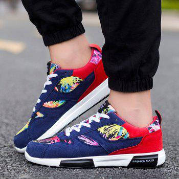 Trendy Floral Print and Suede Design Design Men's Athletic Shoes - DEEP BLUE 44