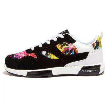 Trendy Floral Print and Suede Design Design Men's Athletic Shoes - 44 44
