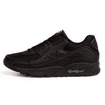Leisure Solid Color and Mesh Design Men's Athletic Shoes - BLACK BLACK