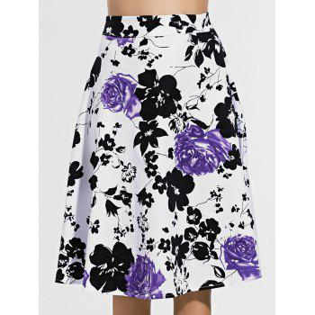 Retro Flower Print Knee Length Skirt For Women