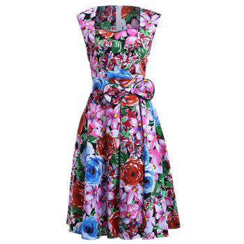 Retro Women's Colorized Floral Sleeveless Sweetheart Neck Dress - COLORMIX S
