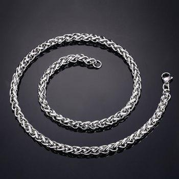 Simple 50CM Length Silvery Thick Braided Wheat Chain Necklace For Men
