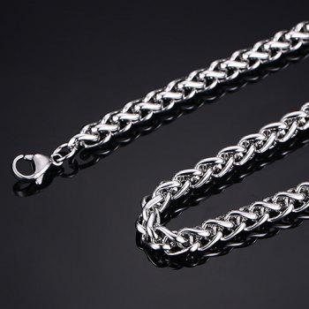 Simple 50CM Length Silvery Thick Braided Wheat Chain Necklace For Men - SILVER