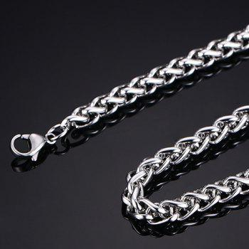 Simple 60CM Length Thick Silvery Braided Wheat Chain Necklace For Men - SILVER