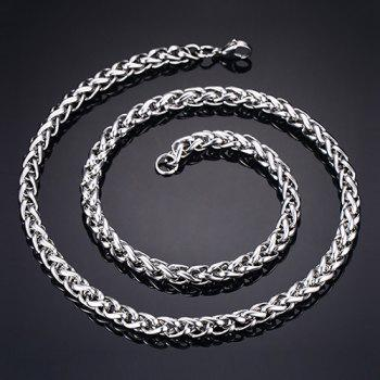Simple 60CM Length Thick Silvery Braided Wheat Chain Necklace For Men