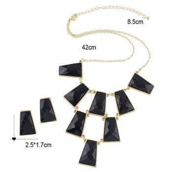 A Suit of Rectangle Faux Gem Necklace and Earrings - BLACK