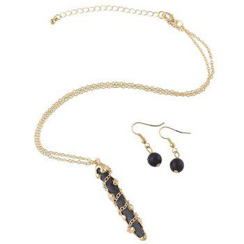 Fake Gem Stick Pendant Necklace and Earrings - BLACK