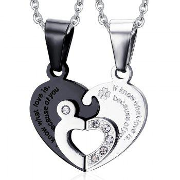Engraved Puzzle Heart Pendant Necklaces