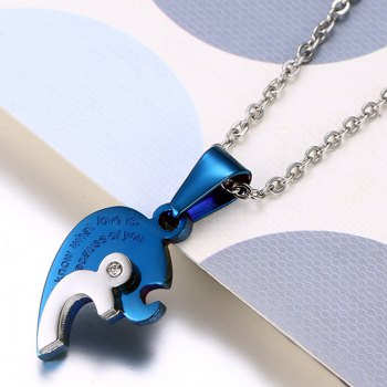 A Suit of Heart Rhinestone Pendant Necklaces - SILVER/BLUE