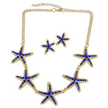 A Suit of Starfish Rhinestone Necklace and Earrings