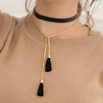 Faux Leather Tassel Sweater Chain