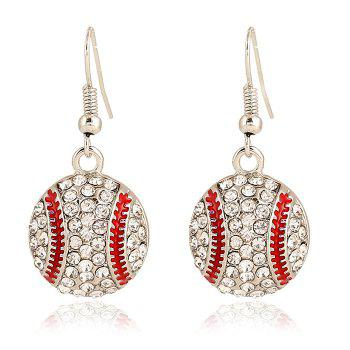 Pair of Baseball Shape Pendant Athletic Earrings