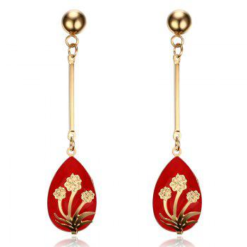 Pair of Teardrop Pendant Flower Decorated Earrings