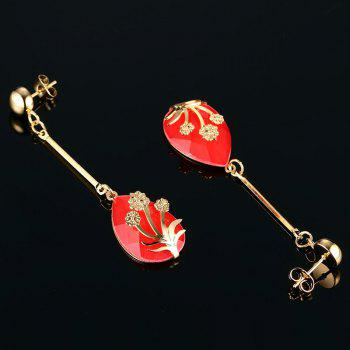 Pair of Teardrop Pendant Flower Decorated Earrings - RED