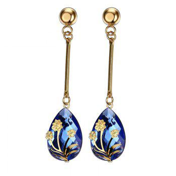 Pair of Vintage Flower Decorated Blue Teardrop Pendant Earrings For Women