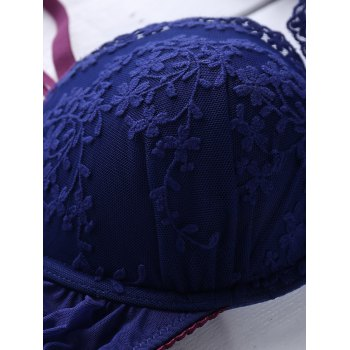Vintage Style Women's Embroidered Floral Push Up Bra Set - DEEP BLUE 75B