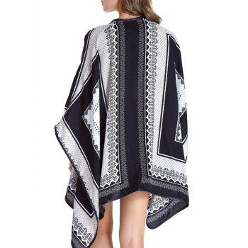 Collarless Loose-Fitting Print Women's Cape - WHITE L