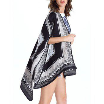Collarless Loose-Fitting Print Women's Cape - WHITE M