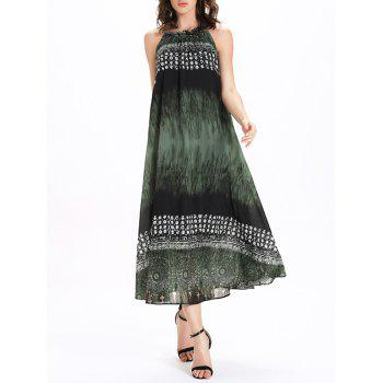 Frilled Jewel Neck Printed Tie Belt Women's Dress