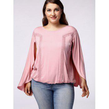 Trendy Scoop Neck Bat Sleeves Backside Hollow Out Blouse For Women - LIGHT PINK 4XL