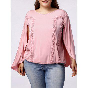 Trendy Scoop Neck Bat Sleeves Backside Hollow Out Blouse For Women - LIGHT PINK LIGHT PINK