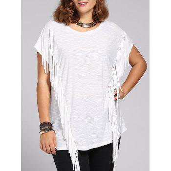 Trendy Short Sleeves Jewel Neck Fringed T-Shirt For Women