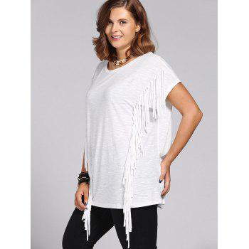Trendy Short Sleeves Jewel Neck Fringed T-Shirt For Women - WHITE WHITE