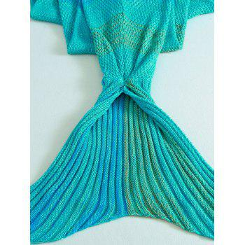 Crochet Stripe Pattern Mermaid Tail Shape Bedding Blanket -  LAKE BLUE