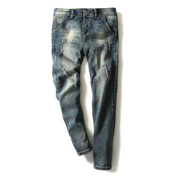 Modish Bleach Wash Hole Design Narrow Feet Jeans For Men