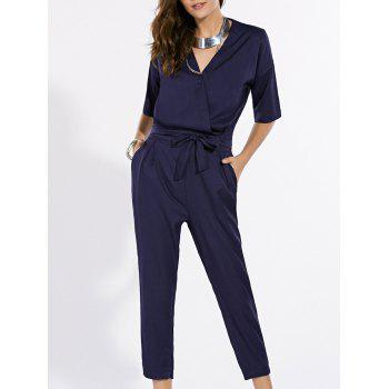 Fashionable Pure Color V-Neck Short Sleeve Jumpsuit For Women