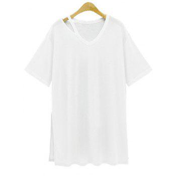 Stylish V Neck Short Sleeve Loose Side Slit Women's T-Shirt