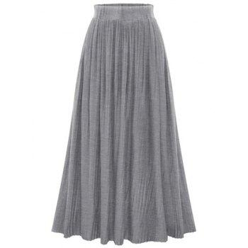 Stylish High Waist Pure Color Pleated Women's Skirt