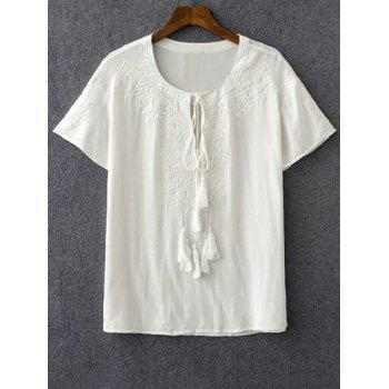 Stylish Round Neck Short Sleeve Embroidery White Women's T-Shirt
