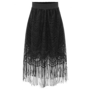Stylish High Waist A-Line Black Fringe Lace Women's Skirt