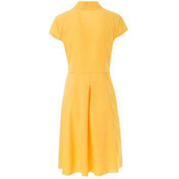 Vintage Short Sleeve V Neck Pure Color Women's Midi Dress - YELLOW YELLOW