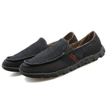 Casual Solid Color and Stitching Design Men's Loafers - BLACK 41