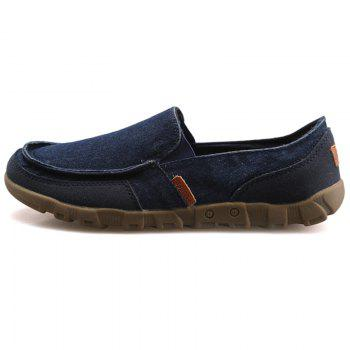 Casual Solid Color and Stitching Design Men's Loafers - BLUE 41