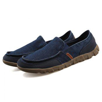 Casual Solid Color and Stitching Design Men's Loafers - BLUE 42