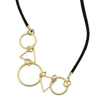 Vintage Triangle Round Necklace For Women - BLACK