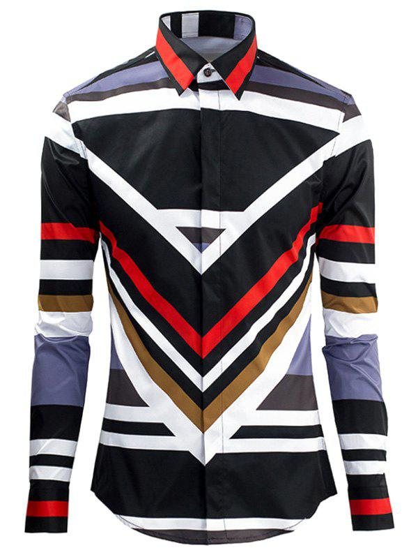 Stripe Color Block Plain Fly Shirt Collar Long Sleeves Men's Shirt от Dresslily.com INT