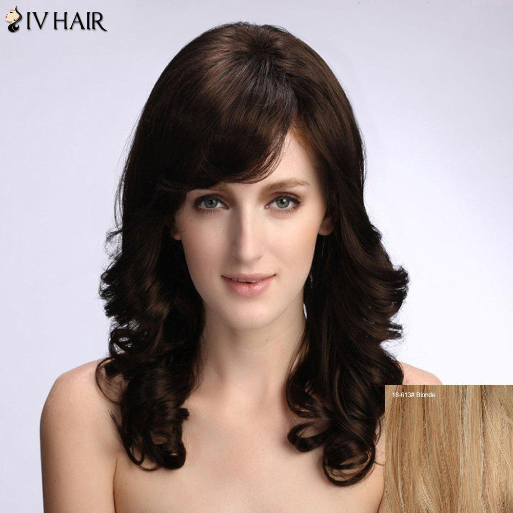 Women's Stylish Long Curly Siv Hair Human Hair Wig - BLONDE