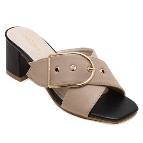 Trendy Cross Straps and Buckle Design Women's Slippers - APRICOT 36