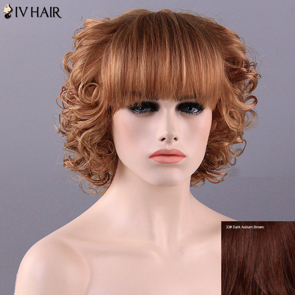 Women's Stylish Full Bang Curly Siv Hair Human Hair Wig -  DARK AUBURN BROWN