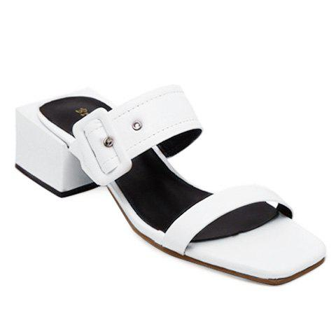 Fashionable Buckle and Solid Colour Design Women's Slippers - WHITE 38
