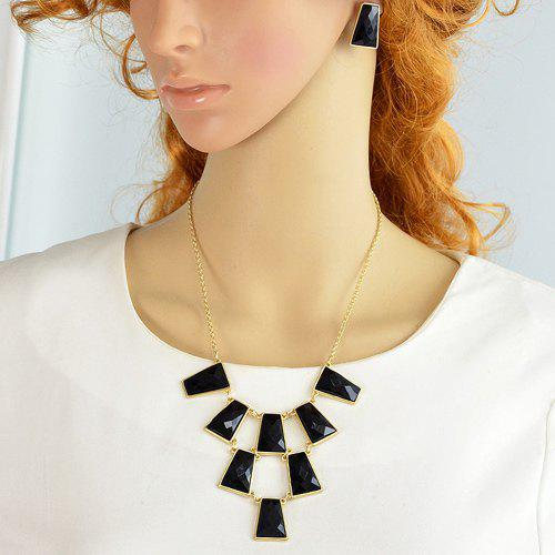 A Suit of Stylish Faux Gem Rectangle Necklace and Earrings For Women