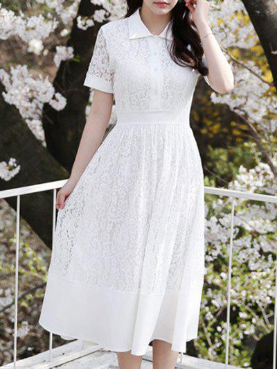 Sweet Floral Pattern Polo Collar Women's Lace Dress - WHITE L