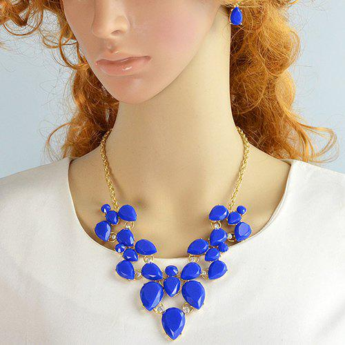 Rhinestone Water Drop Necklace and Earrings - BLUE
