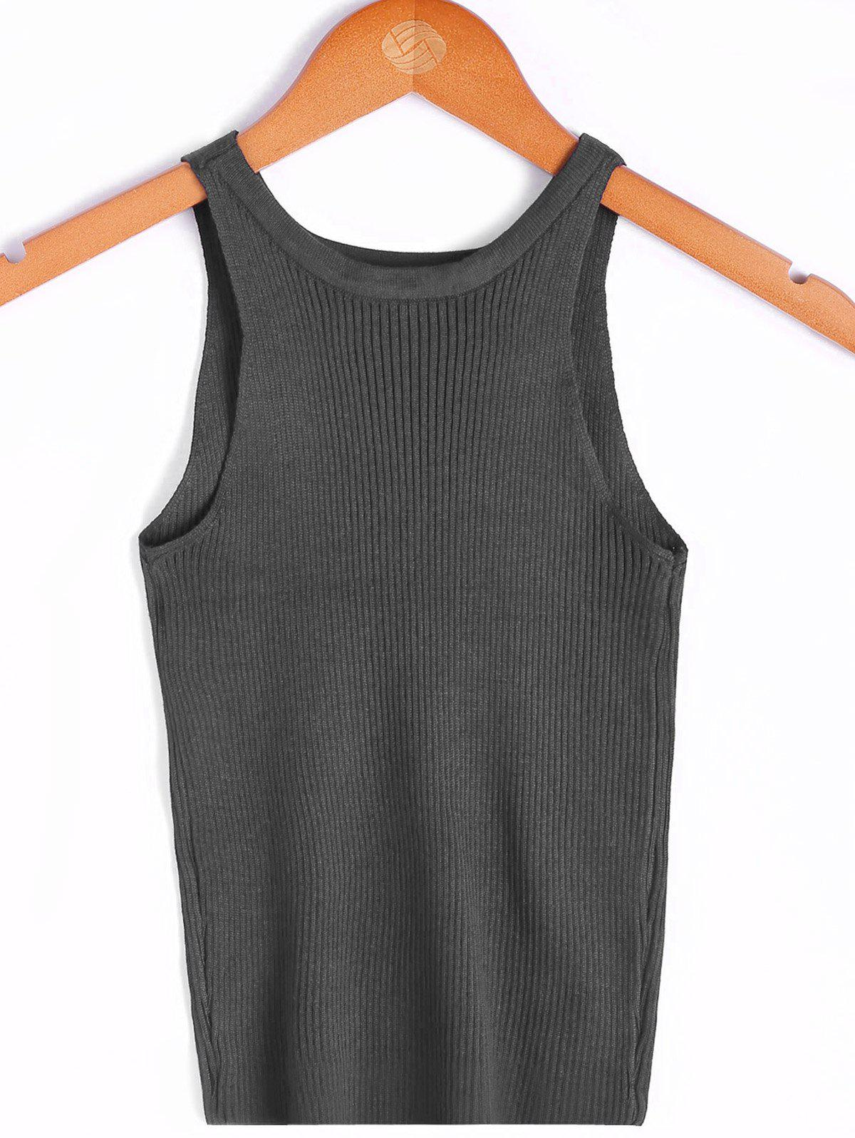 Simple Women's Scoop Neck Sleeveless Solid Color Top - GRAY ONE SIZE(FIT SIZE XS TO M)